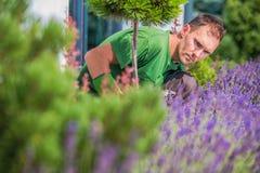 Jardineiro novo no jardim fotografia de stock royalty free