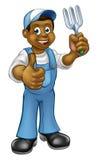 Jardineiro preto dos desenhos animados Foto de Stock Royalty Free
