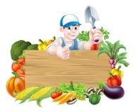 Jardineiro vegetal Sign dos desenhos animados ilustração royalty free