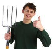 Jardinero con una fork fotos de archivo