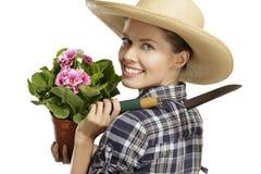 Jardinero de la mujer joven fotografía de archivo libre de regalías