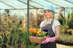 Jardinero de sexo femenino en un jardín Foto de archivo libre de regalías