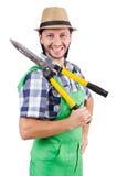 Jardinero divertido con esquileos Imagen de archivo