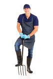 Jardinero en blanco Imagen de archivo
