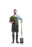 Jardinero hermoso joven imagen de archivo