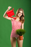 Jardinero joven de sexo femenino Foto de archivo