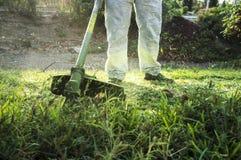 Jardinero que siega la hierba con el cortacésped en el parque foto de archivo