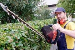 Jardinero que usa podadoras del seto imágenes de archivo libres de regalías