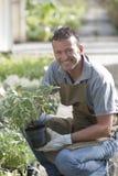 Jardinero sonriente Imagen de archivo
