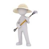 Jardinero Wearing Hat de la historieta y rastrillo el sostenerse libre illustration