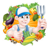 Jardinero y verduras Foto de archivo