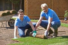 Jardineros de paisaje que ponen el césped para el nuevo césped Fotos de archivo