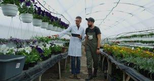 Jardineros que caminan en invernadero metrajes