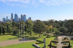 Jardines botánicos Australia del paisaje urbano de Melbourne Foto de archivo libre de regalías