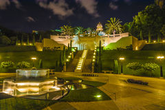 Jardines de Bahai en la noche Imagen de archivo
