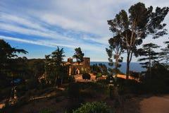 Jardines de Cap Rig, Spain, May 2016: Historical villa castle of russian colonel on territory of Jardines de Cap Rig national park Stock Images