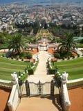 Jardines de Haifa Bahai e Israel portuario Imagen de archivo libre de regalías
