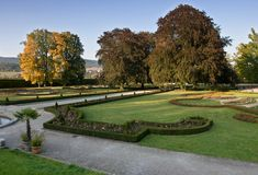 Jardines del castillo en Cesky Krumlov, República Checa Imagen de archivo