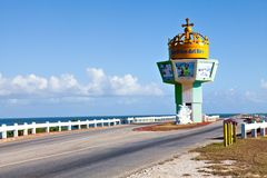 Jardines del Rey causeway entrance / Cuba. Jardines del Rey, Cuba - December 24, 2016: the couseway entrance to the Jardines del Rey, an archipelago off  the Royalty Free Stock Photography