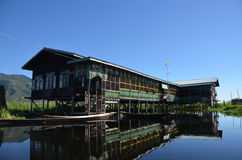 Jardines flotantes en el lago Inle Imagen de archivo