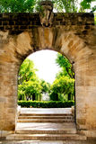 Jardines Palma de Mallorca de la entrada del arco Imágenes de archivo libres de regalías