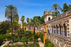 Jardines verdaderos del Alcazar en Sevilla España Imagen de archivo