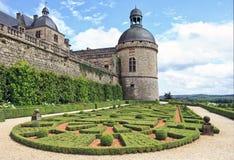 Jardines y Chateau de Hautefort, Perigord, Francia Imagenes de archivo