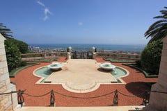 Jardines y mar Mediterráneo, Haifa de Bahai imágenes de archivo libres de regalías