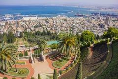Jardines y templo en las cuestas de Carmel Mountain, ciudad de Haifa, Israel de Bahai Fotografía de archivo