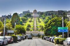Jardines y templo en las cuestas de Carmel Mountain, ciudad de Haifa, Israel de Bahai Fotografía de archivo libre de regalías