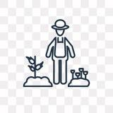 Jardinier avec l'icône de vecteur de chapeau d'isolement sur le fond transparent illustration stock