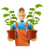 Jardinier avec la centrale dans le flowerpot illustration stock