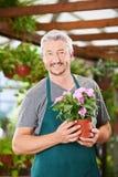 Jardinier avec la fleur dans la boutique de crèche Image libre de droits