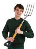 Jardinier avec une fourchette photo stock