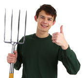 Jardinier avec une fourchette photos stock