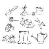 Jardinier d'attributs Jardin, pots de jeune plante, bo?te d'arrosage, chapeau, spatule, gants, cisaillements de jardin illustration stock