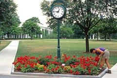 Jardinier d'horloge et de femme images stock