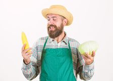 Jardinier de hippie dans le l?gume de prise de tablier L?gume de chou d'?pi de ma?s de prise de chapeau de paille d'agriculteur P photographie stock