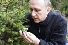 Jardinier de Moyen Âge travaillant dans le jardin de forêt Photos libres de droits