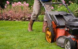 Jardinier fauchant la pelouse. Photo stock