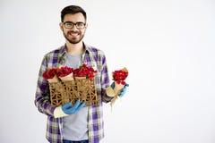 Jardinier masculin avec des fleurs images libres de droits