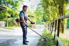 Jardinier professionnel à l'aide d'un coupe-rives dans le jardin images libres de droits