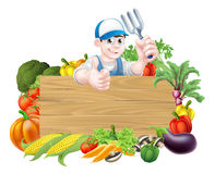 Jardinier Sign de légumes de bande dessinée Image stock