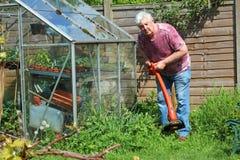 Jardinier strimming ou coupant l'herbe Photographie stock libre de droits