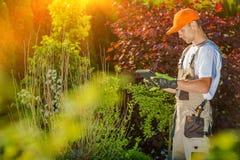 Jardinier Working sur la Tablette photographie stock libre de droits