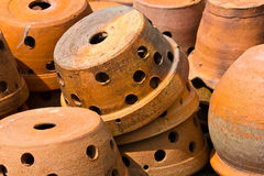 Jardiniere. Baked clay decorated in the garden Royalty Free Stock Image