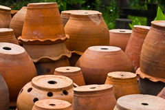 Jardiniere. Baked clay decorated in the garden Stock Image