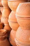 Jardiniere Beautiful pattern. Jardiniere made of clay with a beautiful pattern Stock Photo