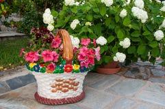 Jardiniere - with colorful petunias Royalty Free Stock Photo