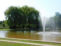 Jardins avec des fontaines Photographie stock libre de droits